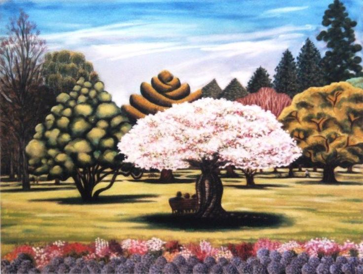 Cherry Blossom Interlude Pastel 2003  (Christchurch Botanical Gardens)