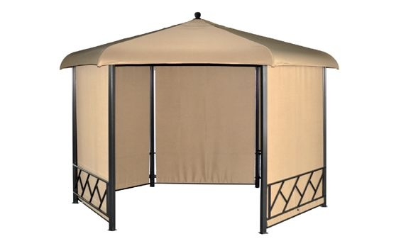 Gazebo de majestic garden con forma hexagonal y cortinas for Terrace gazebo