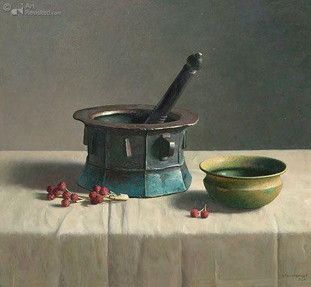 Stilleven met Perzische vijzel en droge vruchten by Henk Helmantel. Olieverf op paneel - 2011