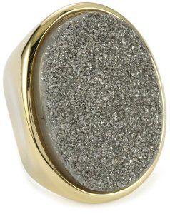 "Marcia Moran ""Illume"" Titanium Druzy Stone Oval 18k Gold-Plated Ring, Size 8 Marcia Moran. $43.20"