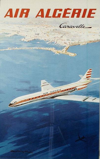 Air Algerie classic vintage travel poster
