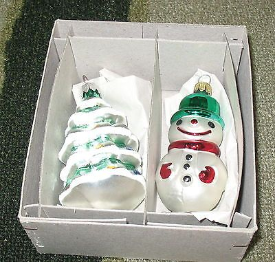 Chritmas tree andd Snowman glass ornaments made in Germany