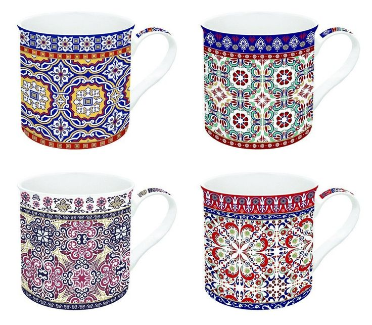 JD Diffusion 179MORO Art Around the World Coffret de 4 Mugs Multicolore: Amazon.fr: Cuisine & Maison