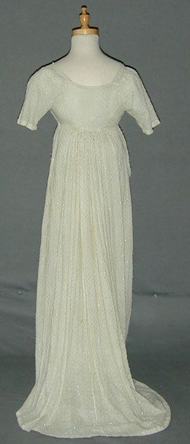 Rare Beaded Cotton dress c 1805