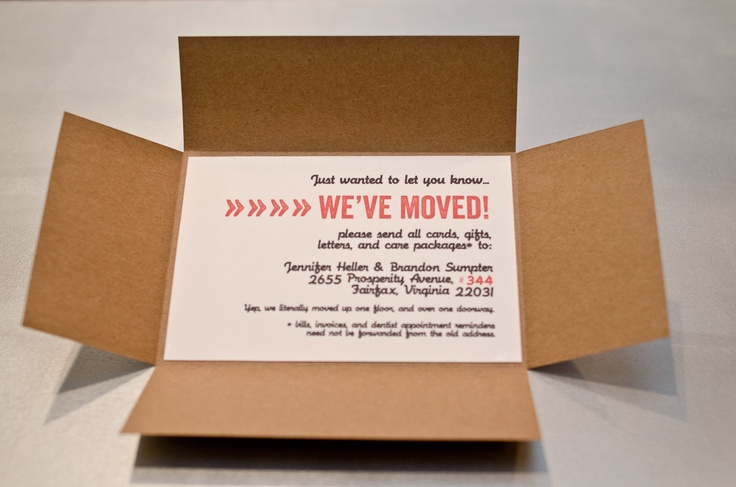"""""""Cardboard Box"""" Moving Announcements - Set of 10. $30.00, via Etsy. (Ribbons and Bluebirds)"""