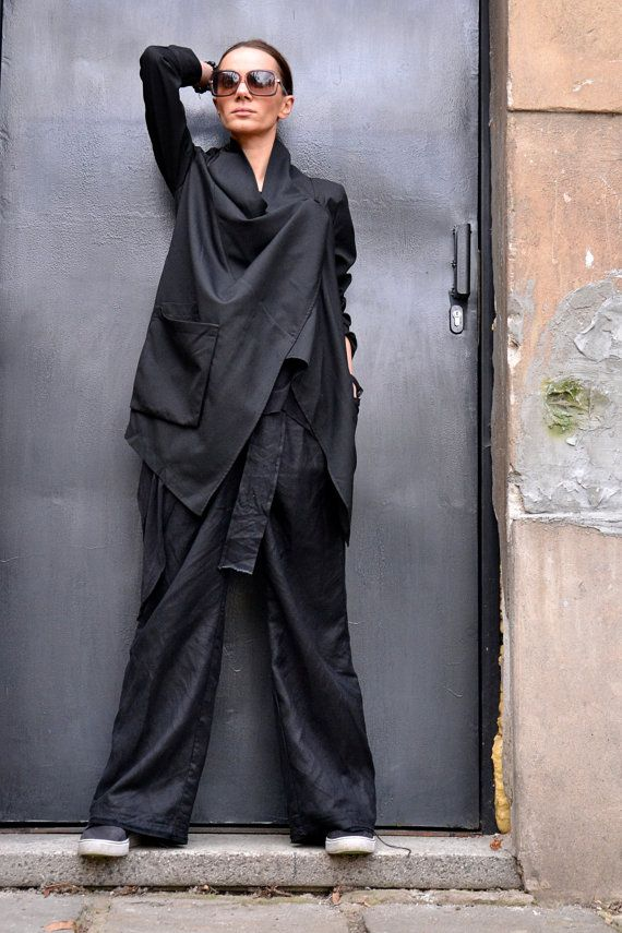 NEW COLLECTION Autumn / Spring Black Jacket / Cold Wool Lined Coat / Extravagant  Asymmetrical  Trench by Aakasha A07109