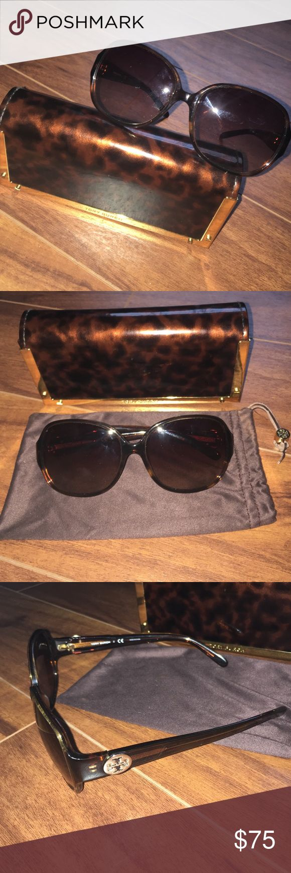 Tory Burch Sunglasses - Authentic, Great condition Authentic, very well taken care of Tory Burch tortoiseshell women's sunglasses! These are my favorite pair, however I just purchased a black pair and need to get rid of the brown. These are universally flattering and need a great home. I have used these about 5 times are they are in wonderful condition! Comes with TB case and sleeve. Tory Burch Accessories Sunglasses