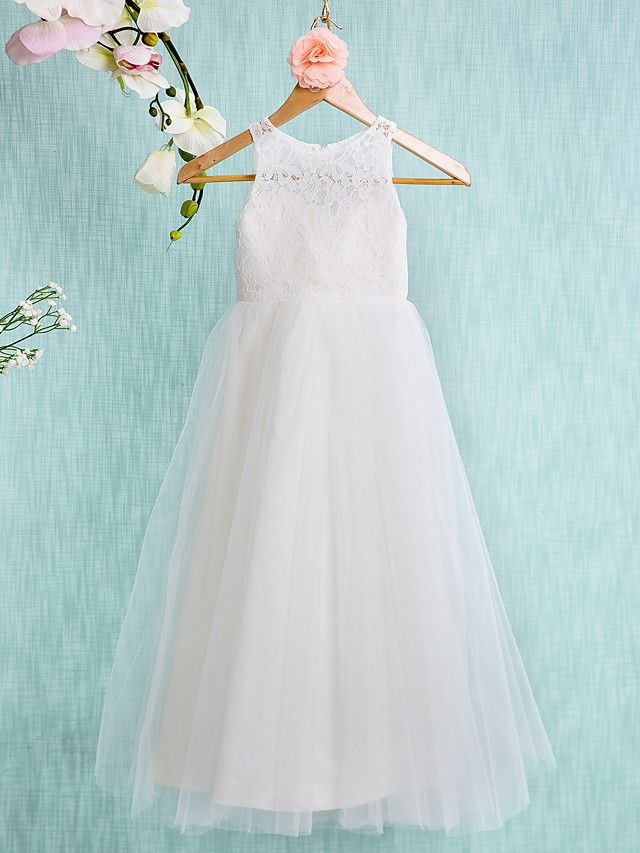 Lanting Bride ® A-line Ankle-length Flower Girl Dress - Lace / Tulle Sleeveless Jewel with - USD $56.99 ! HOT Product! A hot product at an incredible low price is now on sale! Come check it out along with other items like this. Get great discounts, earn Rewards and much more each time you shop with us!