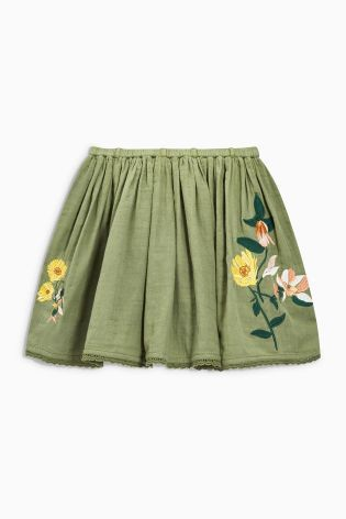Khaki Floral Embroidered Skirt (3-16yrs)