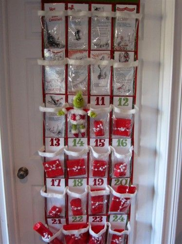 Grinch Advent calendar...each day reveals a piece of the Grinch story under that day's package(printable story cards) ...this is so cute and creative!