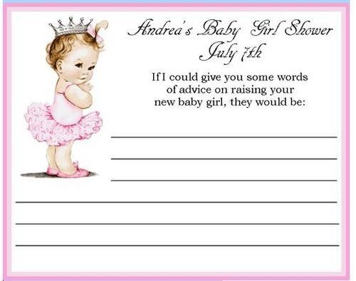 vintage princess baby shower advice card  baby shower advice, Baby shower invitation