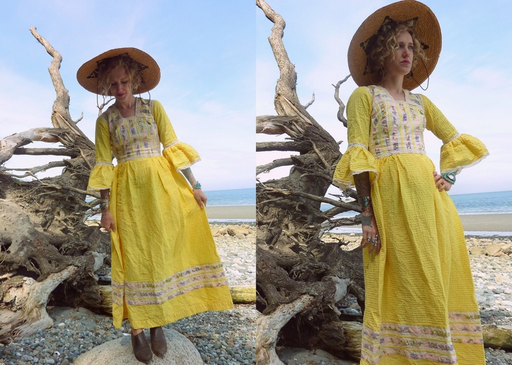 70s Fantasy Festival Yellow Pale Floral and Lace Maxi Dress. $107.00, via Etsy.