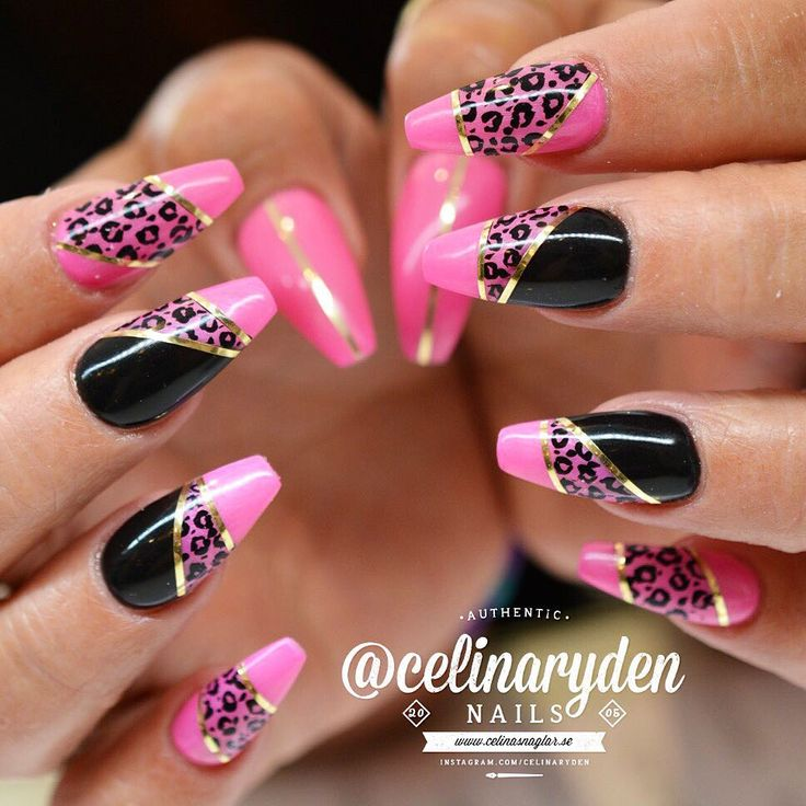 Hot Pink And Black Leopard Nails With Gold Tape Neon Nails Fashion And Makeup Pinterest