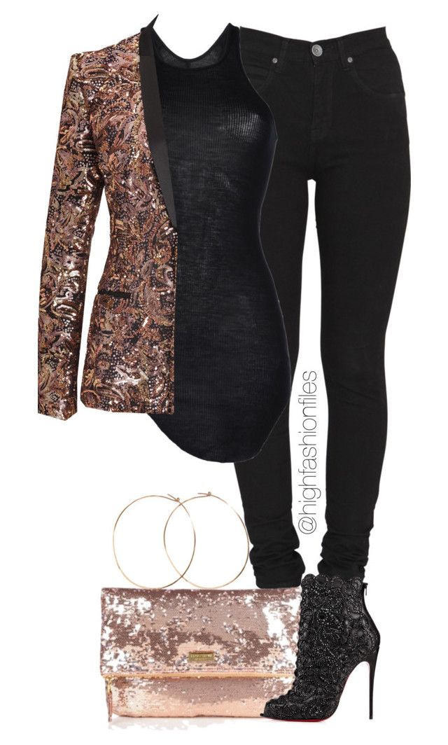 """""""Lit"""" by highfashionfiles ❤ liked on Polyvore featuring Dr. Denim, Rick Owens, Just Cavalli, Halston Heritage and Christian Louboutin"""
