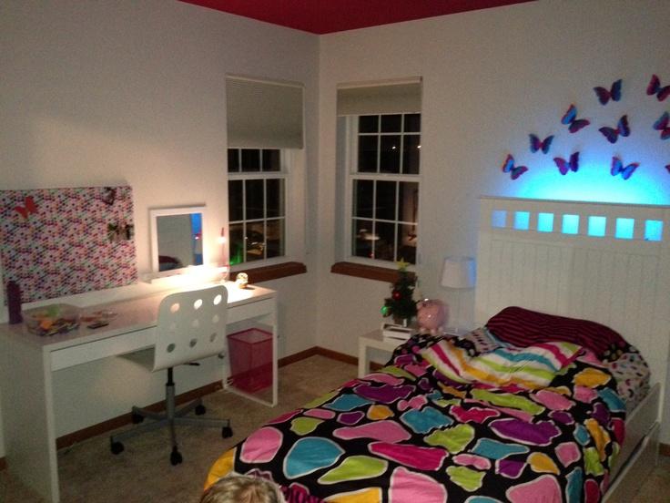 Girls bedroom. Purple, blues, butterflies, led lighting behind bed, ikea  desk