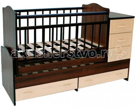 Ведрусс Раиса с комодом маятник поперечный  — 8030р. -----------  Кроватка-трансформер Ведрусс Раиса с комодом маятник поперечный  Мебельная фабрика Ведрусс - это качественная и доступная детская мебель российского производства. Покупая кроватку-трансформер этой фирмы, вы приобретаете мебель, в которой ваш ребенок сможет спать с самого рождения и до 10-летнего возраста.   Достоинства детской кроватки-трансформера Ведрусс Раиса: Стандартная по длине детская кроватка легко модифицируется в…