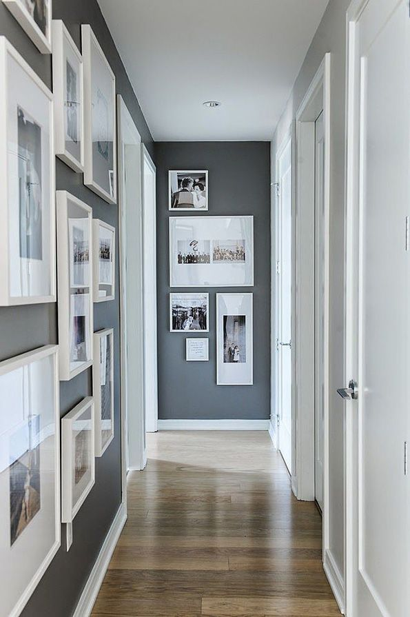grey wall-  white frames