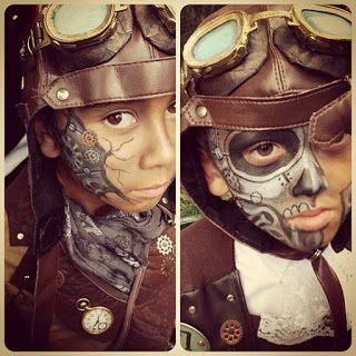 Steampunk Makeup Guide: Special FX Robot Skeleton Face Paint for Kids - For costume tutorials, clothing guide, fashion inspiration photo gallery, calendar of Steampunk events, & more, visit SteampunkFashionGuide.com