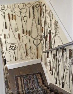 Connecticut Country Farmhouse With A Unique Wall Decor Of This Stairway