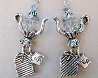 Tea earrings silver tone stainless steel by UntamedMenagerie