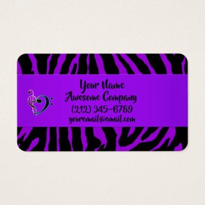 Wild and Crazy Purple Zebra Exotic Animal Print Business Card - girly gift gifts ideas cyo diy special unique