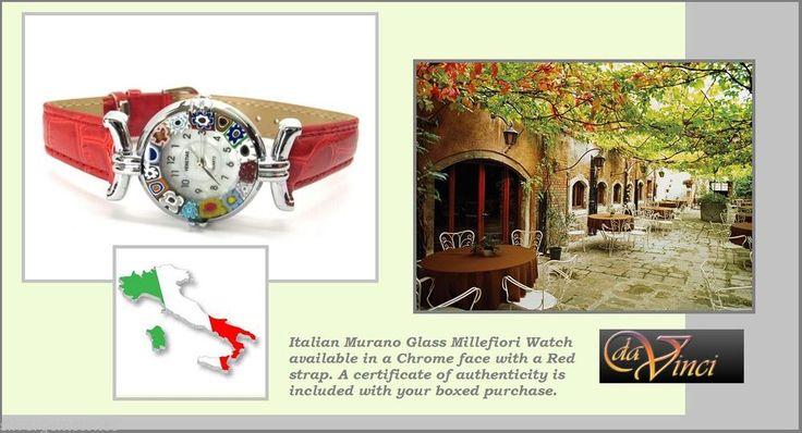 Murano glass watch AUTHENTIC ladies Venetian Glass Red Chrome Murano Watch