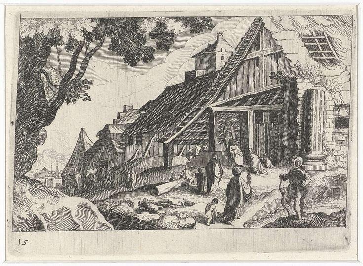Simon Frisius | Stadsgezicht met de aanbidding der koningen, Simon Frisius, Matthijs Bril, Hendrick Hondius (I), 1611 | Aanbidding der koningen in een vervallen boerderij in een heuvelachtig landschap.