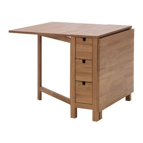 IKEA - NORDEN, ゲートレッグテーブル, カトラリーやナプキンなどの収納に便利な引き出し6個付き2~4人用。ドロップリーフ2枚付き。必要に応じてテーブルのサイズを変えられます耐摩耗性に優れた天然の無垢材を使用