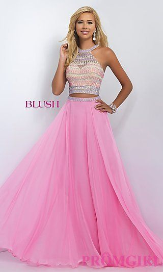 Two Piece Blush Long Prom Dress BL-11056 at PromGirl.com