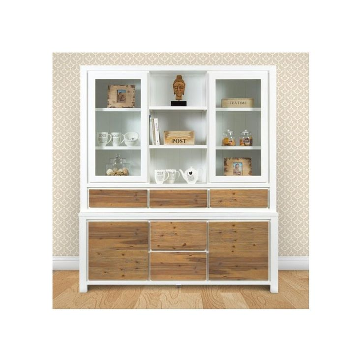 The stunning Ember white timber buffet and hutch is has generous cupboards, drawers and shelving. In Acacia wood and white paneling.