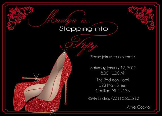 Red Glitter Shoes Birthday Invitation • Fifty & Fabulous Personalized Women's Birthday Invitation • Red, White and Black Birthday Invite