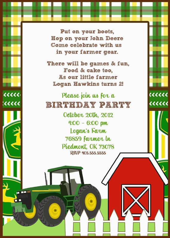 73 best Tractor Party images – John Deere Printable Birthday Invitations