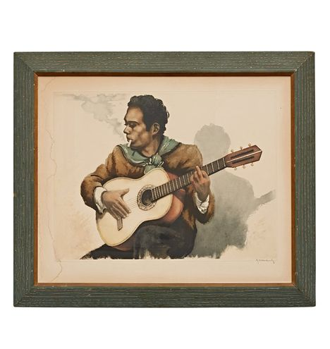 Lithograph of Spanish Guitar Player w/ Original Frame