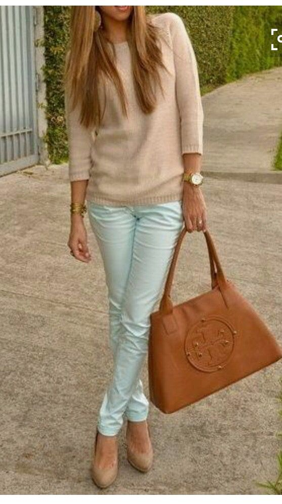The perfect mint skinniest! Paired with a tan sweater and beautiful Tory burch purse. Stitch fix 2016
