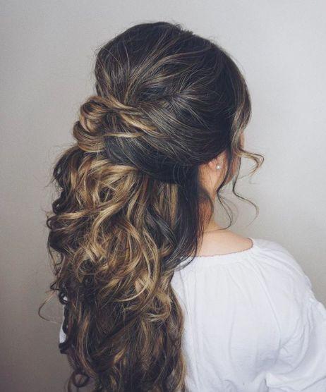 half up half down wedding hairstyle; long hairstyl…