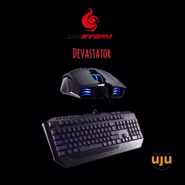 CM Storm Devastator Gaming Combo (Led Blue, Red)  IDR 500.000,-  Berat: 2Kg Garansi: 1 tahun  Features. -Custom membrane design - more durable and improved tactile feedback -Ergonomic ultra low profile design  -Ultra durable Laser etched and grip coated keycaps  -Anti-slide rubber pads on bottom side -Dedicated Multi-media keys -LED backlight with on/off key shortcut