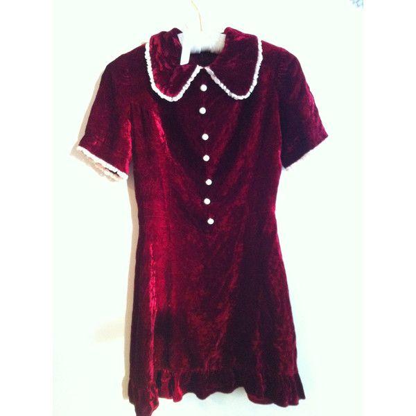 1960s Red Velvet Baby Doll Dress Kinderwhore Christmas ($85) ❤ liked on Polyvore