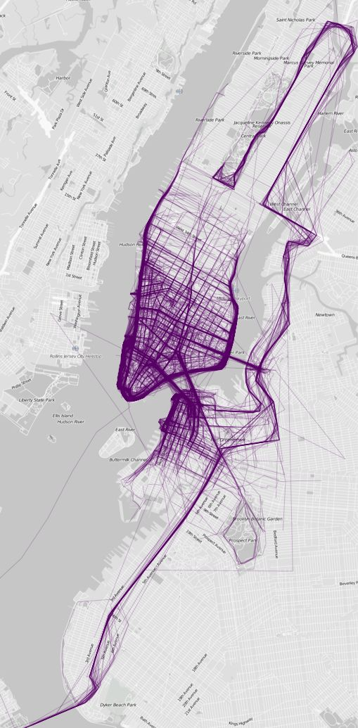 popular urban running path visualizations by FlowingData; shown here is New York