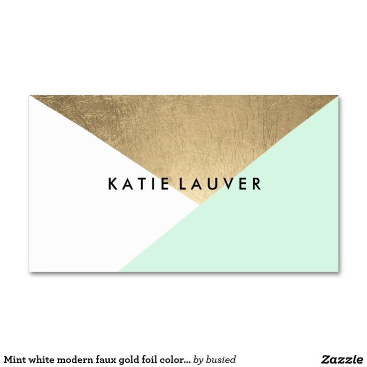 Mint white modern faux gold foil color block chic Double-Sided standard business cards (Pack of 100)