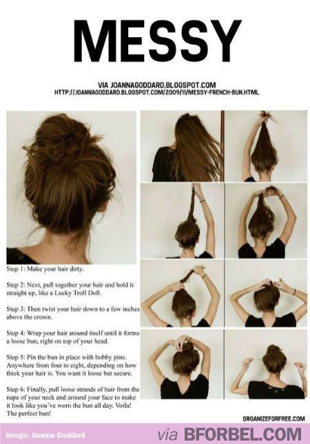 How To Make The Perfect Messy Bun… Tried it, totally easy!! If even a dinosaur like me  can do it in less than three minutes, so can u!  Tip, instead of using bobby pins u can also secure it with a hair tie!