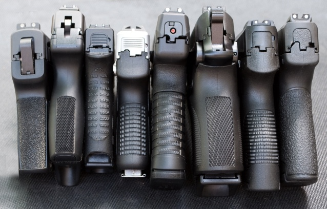 (Left to Right) SIG P290, Ruger LC9, Diamondback DB9, Kahr PM9, Walther PPS, Bersa Thunder UC9 Pro, Taurus Slim, S Shield
