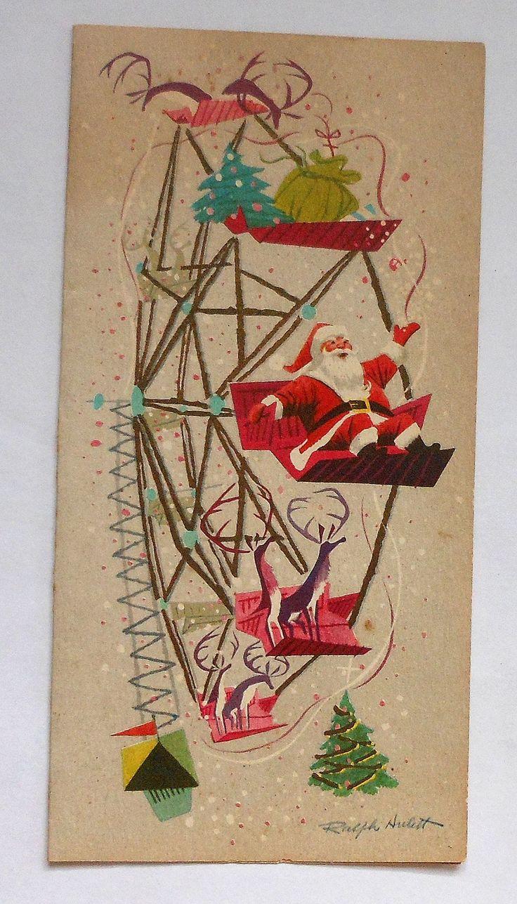 Santa's Jolly Big Wheel - by Disney artist Ralph HulettChristmas Cards, Disney Christmas, Vintage Christmas, Vintage Santa, Big Wheels, Ralph Hulett, Artists Ralph, Disney Artists, Ferris Wheels