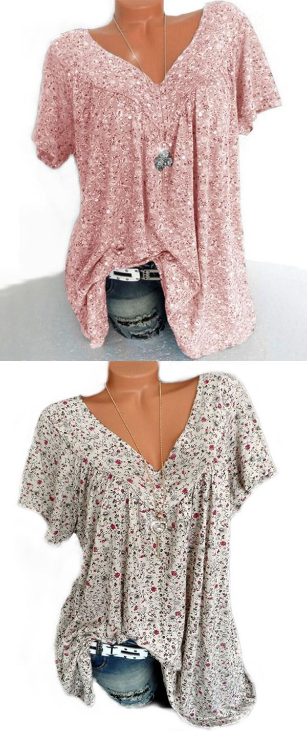 e56b34355a7854 Hot Sale!Plus Size Women Fashion Blouse Casual Loose Floral Printed ...
