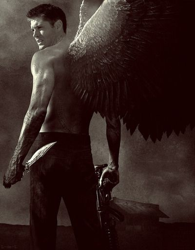Dean Winchester as an angel with a shotgun, I need this because of reasons