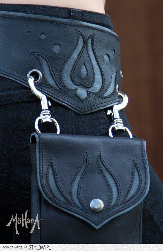 Mohana Leather Pocket Belt Bag  Black Bohemian by Mohan…