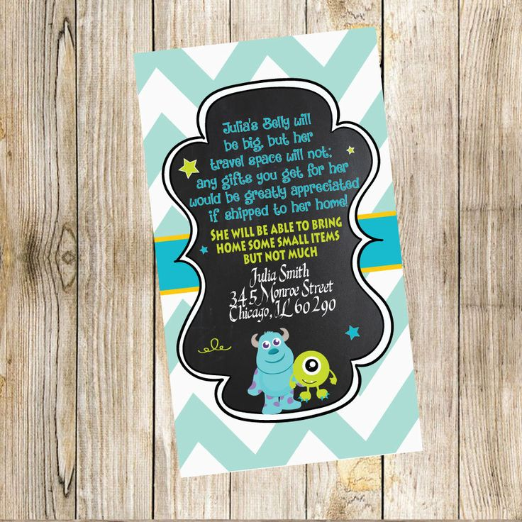baby shower invitation wording for bringing diapers%0A Monsters Inc Personalized Travel Card by TrishaTreeDesigns on Etsy    Travel  CardsBaby Shower InvitationsMonsters Inc