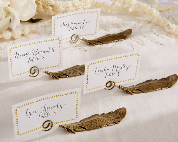 gilded gold feather place card holders set of by kate aspen