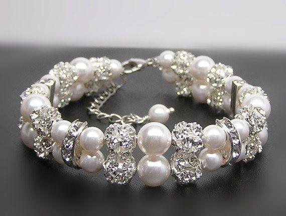 Bridal bracelet2 Strands of pearl and rhinestone by Godstonestudio, $40.00