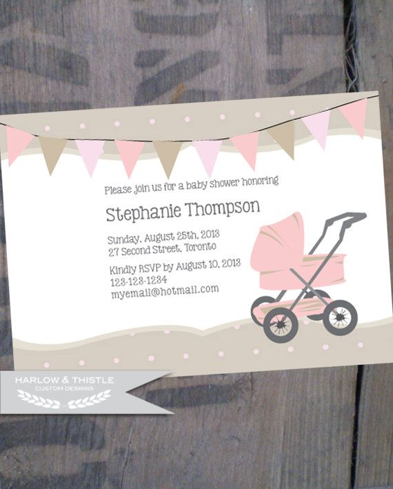 PRINTABLE Baby Shower Invitation * Custom * Pink * Beige * Polka Dots * Stroller * Bunting Banner * VIntage * DIY