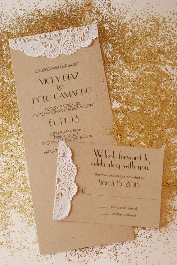 Handmade Custom Vintage Glam Wedding Invitation - Engagement Shower - Great Gatsby - Doily - 1920s - The Roaring 20s - Flapper - Retro via Etsy